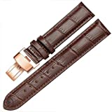 12-17mm Genuine Leather Ladies Womens Rose Gold Buckle Wrist Watch Bands Strap (12mm, Brown & Brown Line)