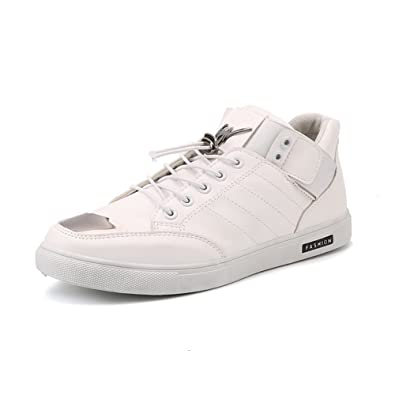 Shoes Mens Casual Shoes High-Top Sneakers Lace-up Deck Boat Shoes Lightweight Running Shoes (Color : Gun Color Size : 42)