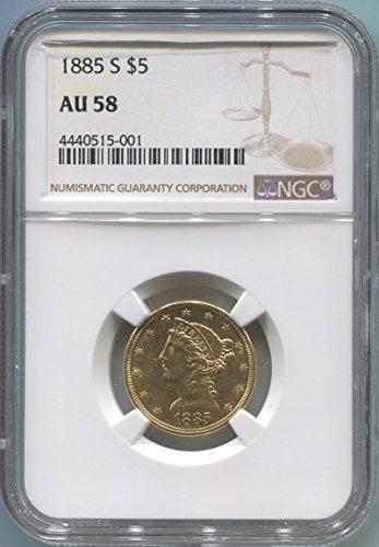1885 S $5, Gold (Pre-1933) AU58 NGC