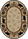 Cheap Rug Empire Rustic Lodge Area Rug, Oval, Bear Cabin, Multi 7472