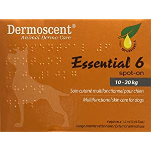 Dermoscent Essential 6 Spot-On Skin Care for Medium Dogs 22-45 lbs, 4 Tubes (10 – 20kg)