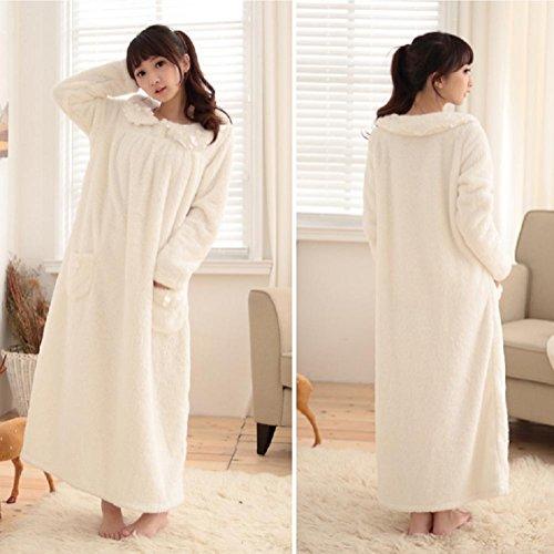 DMMSS Mujeres De Coral De Terciopelo Pijama De Otoño E Invierno De Manga Larga Pijamas Calientes De La Falda white nightgown