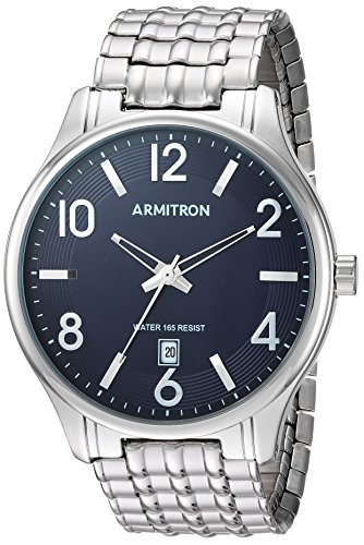 Armitron Men's 20/5221NVSV Date Calendar Dial Silver-Tone Expansion Band Watch