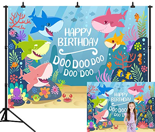 DePhoto 7X5FT(210X150CM) Cartoon Ocean Shark Happy Birthday Baby Shark Party Theme Seamless Vinyl Photography Backdrop Photo Background Studio Prop PGT355A]()