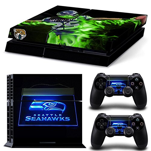 FriendlyTomato PS4 Console and DualShock 4 Controller Skin Set - Football NFL - PlayStation 4 (Seahawks Controller)