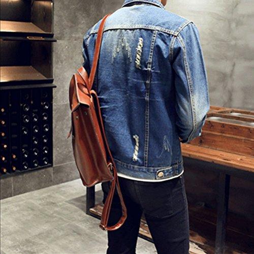 Destroyed Zhhlaixing Down Size Turn Classic Confortevole Jacket Blue Morbida Wash Coat Plus Denim Mens Collar 1qtvUpq