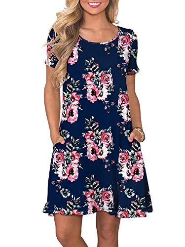 OFEEFAN Grils Flower Dresses Casual Short Sleeve T Shirt Dress with Pockets Roseblue ()