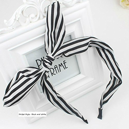 AKOAK Fashion Stripes Style Bowknot Headbands Butterfly Bow Knot Adjustable Hair Hoop Rabbit Ears Headband for Women Girls Teens (Black and white stripes,1pc) (Black Heads In Ear)