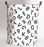 Large Laundry Basket, Waterproof Round Cotton Linen Laundry Basket, Folding Toy Sundries Storage Bag (White Letter Design)