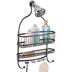 InterDesign York Lyra - Bathroom Jumbo Shower Caddy Shelves - Bronze - 16 x 4 x 22 inches