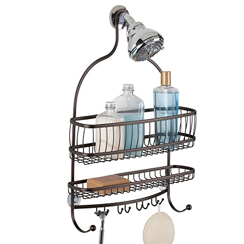 "InterDesign York Metal Wire Hanging Shower Caddy, Extra Wide Space for Shampoo, Conditioner, and Soap with Hooks for Razors, Towels, and More, 16"" x 4"" x 22"", Bronze"