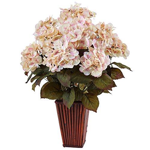 (Nearly Natural Hydrangea Silk Arrangement in Bamboo Planter, Cream Pink)