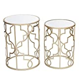 ELEGAN Luxury Classic Metal Accent Nesting Side End Table (Set of 2) (Golden Classic)