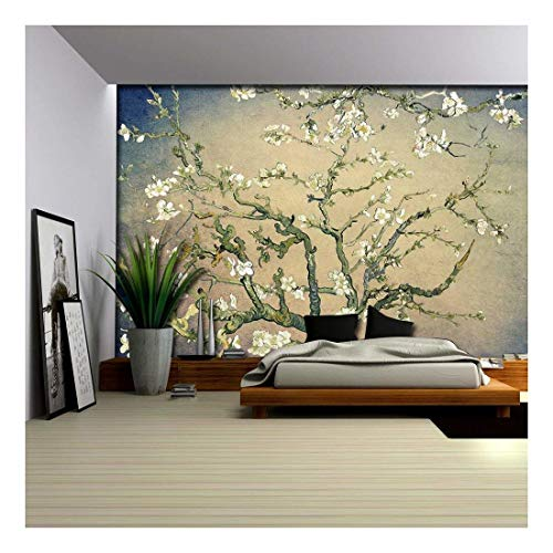 Olive Green with Blue Vignette Almond Blossom by Vincent Van Gogh Wall Mural