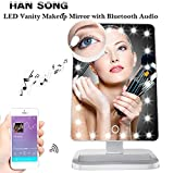 Hansong Makeup Mirror with Bluetooth -20 LED Lights Cosmetic Mirror with USB Chargeable,Wireless Audio Speakers,Detachable 10X Magnifying Mirror,180° Rotation Vanity Mirror with Lights (White)