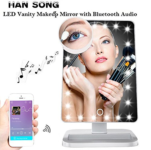 Price comparison product image Hansong Makeup Mirror Bluetooth 20 LED Lights Cosmetic Mirror USB Chargeable,Wireless Audio Speakers,Removable 10X Magnifying,180° Rotation Vanity Mirror Lights (White)