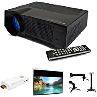 FAVI Home Theater Complete Package with HD Projector, WiFi SmartStick, 120 Motorized Screen, Ceiling Mount