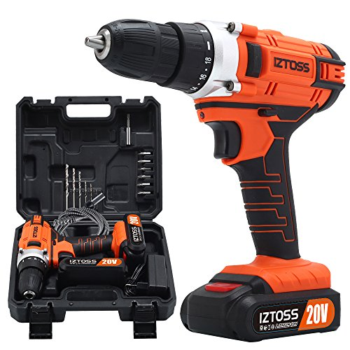 IZTOSS Cordless Drill Set 20V MAX Lithium 2 Batteries Drill Driver (Best Battery Operated Drill)