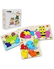 Felly houten puzzel baby, Montessori speelgoed, 4 stuks houten speelgoed van 1 2 3 jaar, puzzels houten speelgoed jongens meisjes, educatief speelgoed puzzel peuter verjaardag kerstcadeau voor kinder