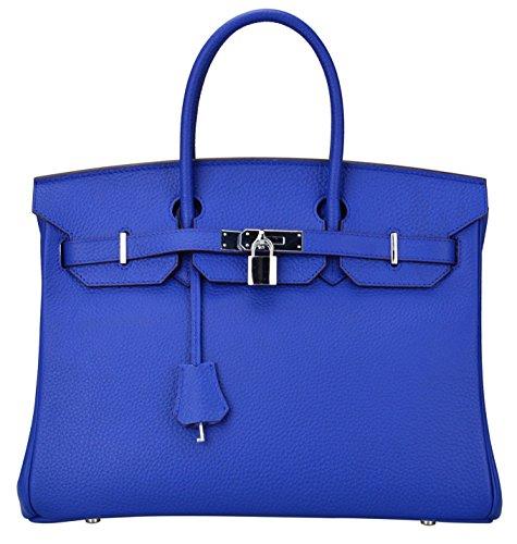 Ainifeel Women's Padlock Handbags with Silver Hardware (35cm, Electric blue) by Ainifeel