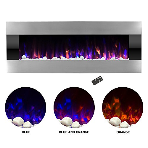 Northwest Electric Fireplace Wall Mounted with LED Fire and Ice Flame, Adjustable Heat and Remote Control, 54