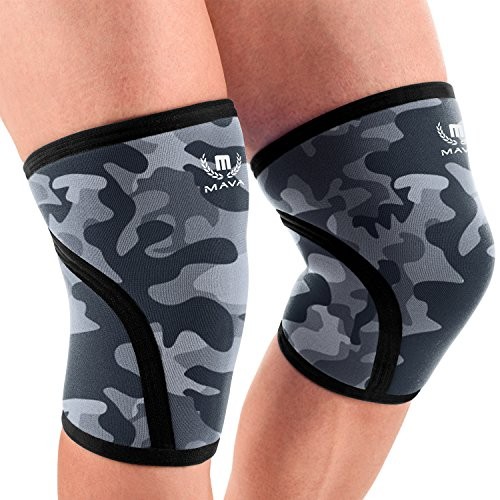 Mava Sports Pair of Knee Compression Sleeves Neoprene 7mm for Men & Women for Cross Training WOD, Squats, Gym Workout, Powerlifting, Weightlifting (Camo Grey, X-Large)
