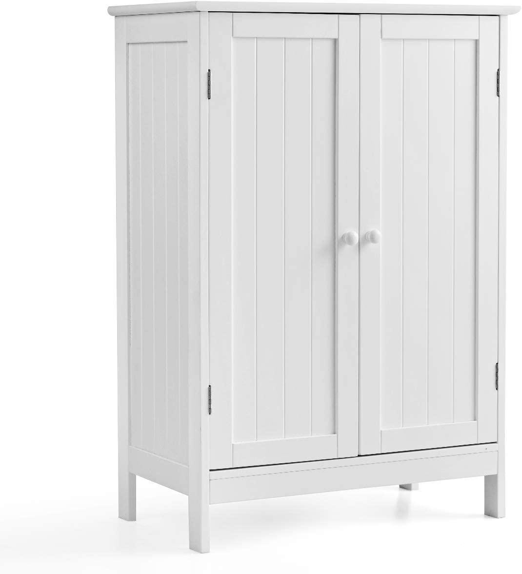 GLACER Bathroom Floor Cabinet, Wooden Freestanding Storage Cabinet with Double Doors, Suitable for Bathroom, Living Room, Bedroom, Entryway, 23.5 x 14 x 34 inches White