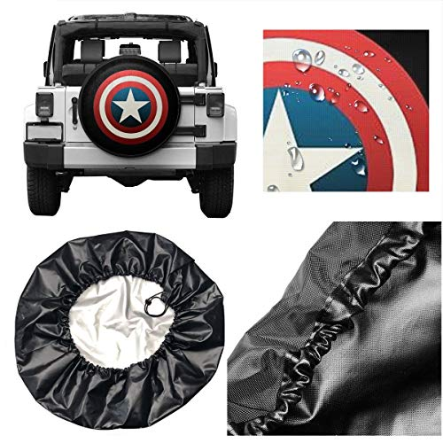 Spare Tire Cover Captain America Logo Universal Waterproof Dust-Proof Wheel Covers
