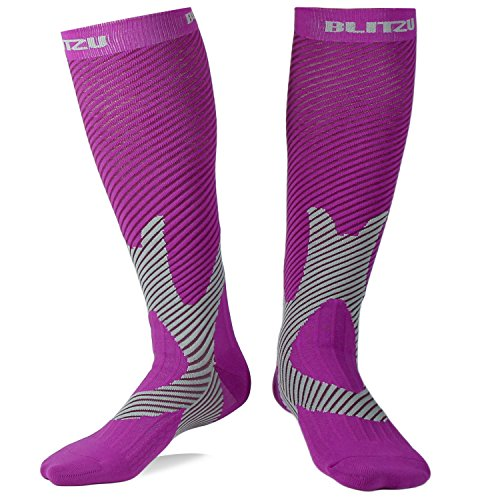 Blitzu Compression Socks 20-30mmHg for Men & Women BEST Recovery Performance Stockings for Running, Medical, Athletic, Edema, Diabetic, Varicose Veins, Travel, Pregnancy Relief Shin Splint Purple L/XL -