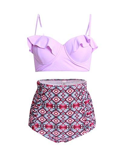 Vintage High Waist Floral Purple Women's Bikini Set Strappy Push Up-X030-PPTFB2 (Purple Floral Bikini)