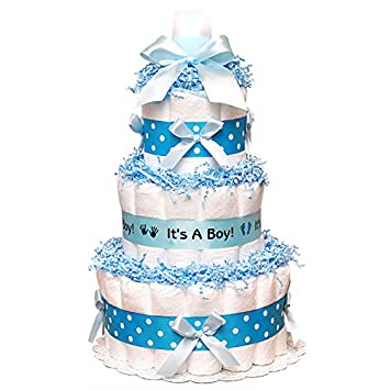 Amazoncom Classic Blue Baby Shower Diaper Cake 3 Tier Blue