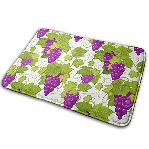 DENETRI DYERHOWARD Bath Mat Grape Leaves Green Non Slip Bath Rug Washable Bathroom Soft Kitchen Floor Door Mat