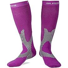 BLITZU Compression Knee High Socks Purple S/M