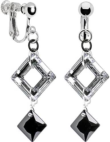Handcrafted Black Drop Square Clip Earrings Created with Swarovski Crystals