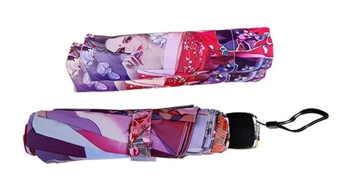 Amazon.com : Katoot@ Novelty items Kimono Girl silver coating manual ladies umbrella beautiful illustration plegable sombrillas paraguas mujer : Garden & ...