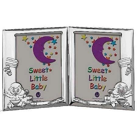 TWINS Boy & Girl luxe Double Sterling Frame by Zaramella Argenti® Italy - 4x6