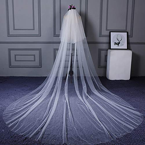 roroz 2 Tier Cathedral Wedding Veil/Bridal Veil Lace/White Tulle with Comb,Beaded Embellishment Super Long Tail Wedding Dress3.5m,White ()