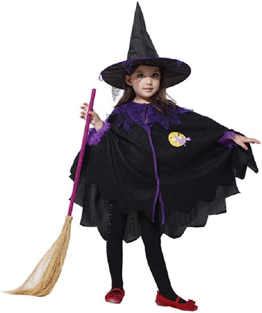 Amazon Com Aa Plus Shop Girls Halloween Cute Witch With Hat And Cape Kids Costume Trick Or Treat Medium Black Purple Clothing