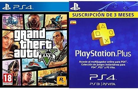 Grand Theft Auto V (GTA V) + PlayStation Plus - Tarjeta de Suscripción de 3 meses: Amazon.es: Videojuegos