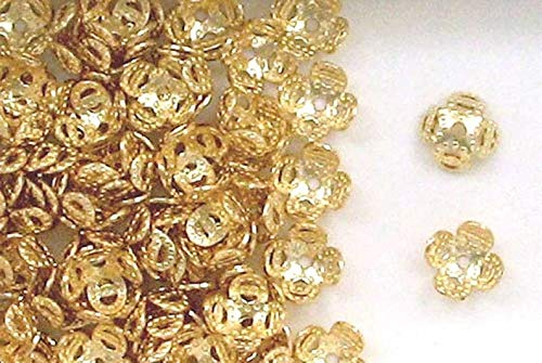 14k Gold Filled 7mm Flower Design Bead Caps, Choice of Lot Size & Price