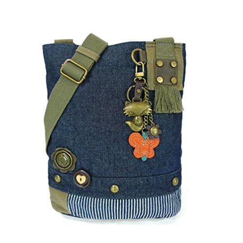 - Chala Handbag Canvas Crossbody Messenger Bags - Metal Fox, Denim