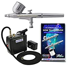 Master Model B22 Airbrushing Kit with Model C16-B Vogue Air Black Portable Mini Airbrush Air Compressor (Includes Booklet)