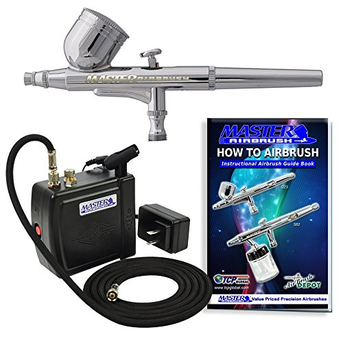 (Master Airbrush Multi-Purpose Airbrushing System Kit with Portable Mini Air Compressor - Gravity Feed Dual-Action Airbrush, Hose, How-To-Airbrush Guide Booklet - Hobby, Craft, Cake Decorating, Tattoo)