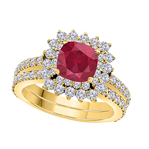 1.50 Ct Cushion & Round Cut Cteated Red Ruby & Cubic Zirconia 14k Yellow Gold Over Starburst Design Wedding Engagement Ring Halo Bridal Sets Size 4 to 11 ()