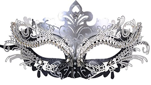 Mask Masquerade Silver (Masquerade Mask Shiny Metal Rhinestone Venetian Pretty Party Evening Prom)