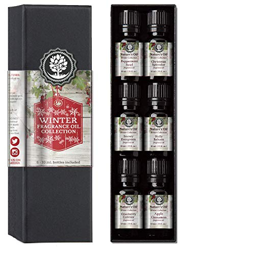 Winter Collection Fragrance Oil Gift Set - Apple Cinnamon, Snowy Evergreen, Christmas Splendor, Peppermint Swirl, Holly Balsam, Cranberry Cobbler.