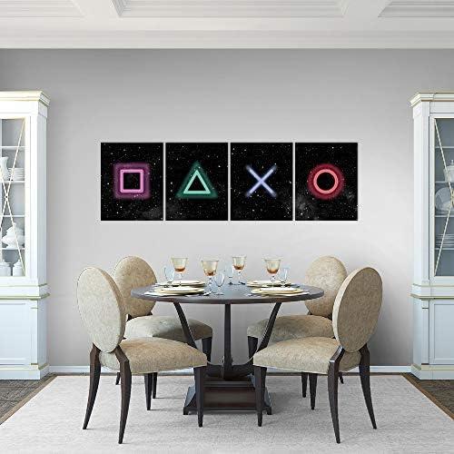 Bilder Spielkonsole Gamer Wandbild 160 x 50 cm Vlies - Leinwand Bild XXL Format Wandbilder Wohnzimmer Wohnung Deko Kunstdrucke Bunt 4 Teilig - MADE IN GERMANY - Fertig zum Aufhängen 023846b 5