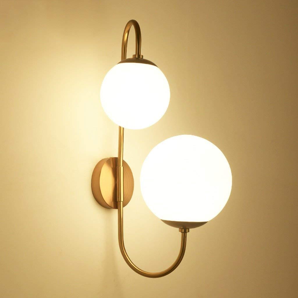 Xwyun ガラス玉 ウォールランプ 北欧錬鉄製 ベッドサイドランプ、モダンなリビングルーム ベッドルーム ダイニングウォール吊りランプ 高輝度 ダブル光源 LED 壁ランプ(52 * 30 CM) B07MGYNHSL