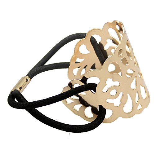 (Q&Q Fashion Gold Plated Filigree Curved Lace Pony Tail Hair Elastic Dress Cuff Band ...)