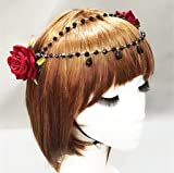 Lolita Double Rose Flower Chain Hair Clip Vintage Rockabilly Bridal 1950s 1940s Accessory (Red)